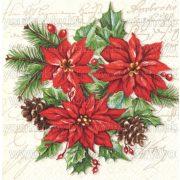 Szalvéta, Karácsonyi, Mikulásvirág