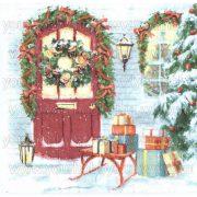 Szalvéta, Karácsonyi, Szánkó az ajtó elött
