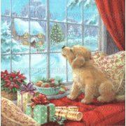 Szalvéta, Karácsonyi, Kiskutyus az ablakban