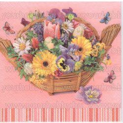 Szalvéta Virágos szalmakosár