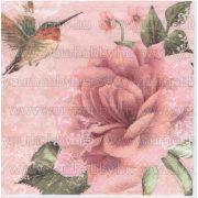 Szalvéta Rózsaszín rózsa és kolibri