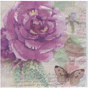 Szalvéta Lila rózsa lepkével