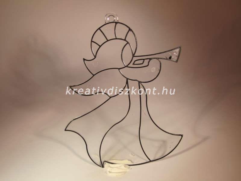 Karácsonyi ablakdekor - Trombitás angyalka